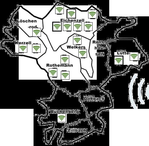 Rhönnet WLAN Standorte